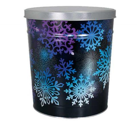 Snowflake popcorn tin by Colby Ridge