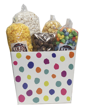 painted dots and stripes popcorn box assortment
