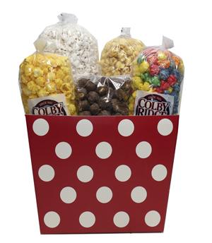 red white dots popcorn box assortment