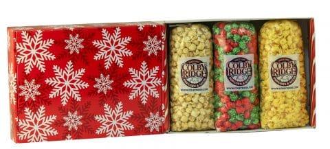 red snowflake popcorn gift assortment